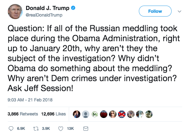 Trump tweet sessions not investigating