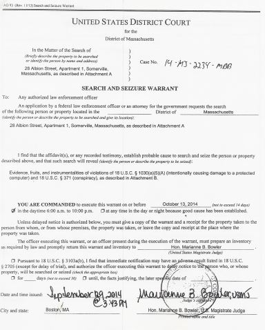 search warrant first page